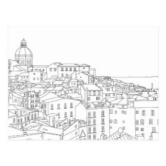 Linha preta & branca cartão da arte de Lisboa