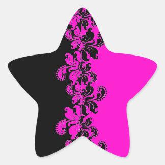 Linha razberry preta cor-de-rosa do laço adesivos em forma de estrelas