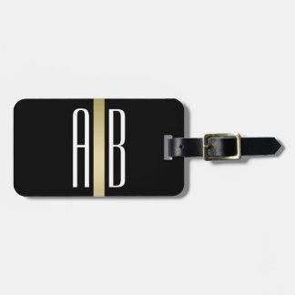 Linha Tag do ouro da bagagem do preto do monograma Tag De Mala