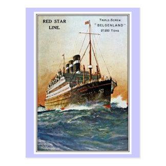 Linha vermelha Belgenland da estrela do vintage Cartão Postal