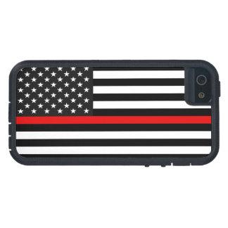 Linha vermelha fina bandeira americana capas para iPhone 5