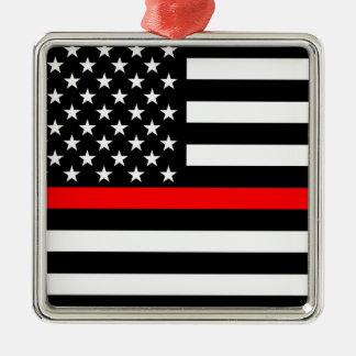 Linha vermelha fina bandeira americana preto e ornamento de metal