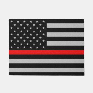 Linha vermelha fina bandeira tapete