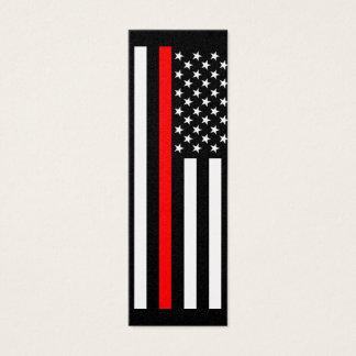 Linha vermelha fina estilo americano em a cartão de visitas mini