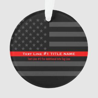 Linha vermelha fina personalizada bandeira ornamento