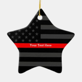 Linha vermelha fina personalizada bandeira ornamento de cerâmica