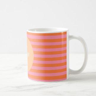 Linhas alaranjadas cor-de-rosa caneca
