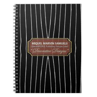 Linhas brancas caderno moderno da gota preta dos