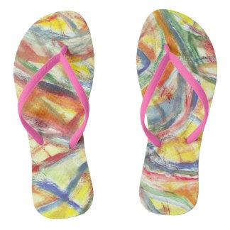 Linhas coloridas chinelos