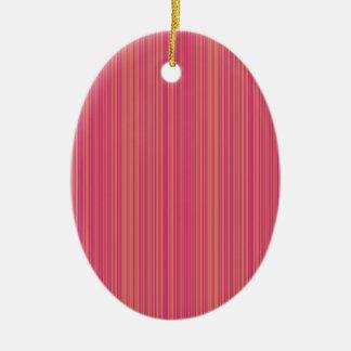 Linhas cor-de-rosa ornamento de cerâmica oval