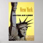 Linhas de ar unidas estátua da liberdade de New Yo Poster