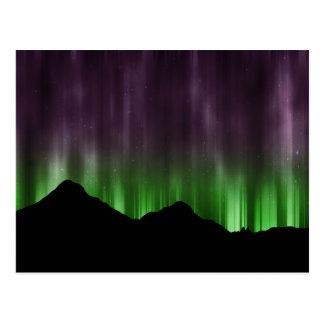 Linhas de aurora boreal cartão