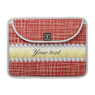 Linhas e diamantes vermelhos do entrecruzamento do bolsas para MacBook