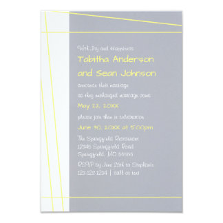 Linhas modernas amarelo - anúncio do casamento 3x5