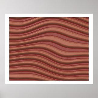 Linhas onduladas Op da arte 3D vermelhas e claras  Poster