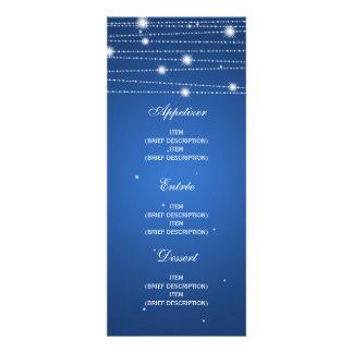 Linhas Sparkling azul do menu elegante do casament Convites Personalizado