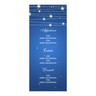 Linhas Sparkling azul do menu elegante do Convites Personalizado
