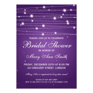 Linhas Sparkling do chá de panela elegante roxas Convite Personalizado