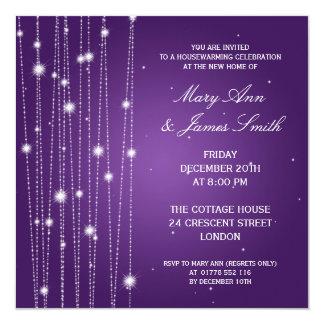 Linhas Sparkling do partido do Housewarming roxas Convite Personalizados