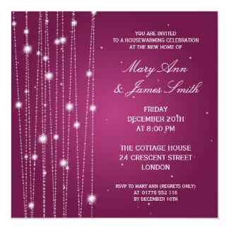 Linhas Sparkling rosa do partido do Housewarming Convite