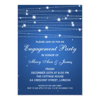 Linhas Sparkling safira da festa de noivado Convite Personalizado