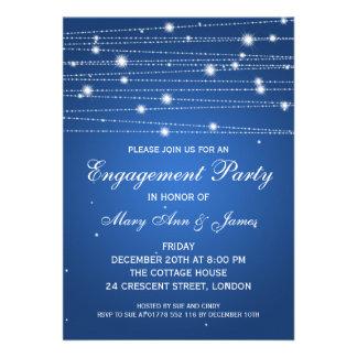 Linhas Sparkling safira da festa de noivado elegan Convite Personalizado