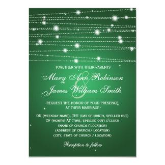 Linhas Sparkling verde esmeralda do casamento Convites Personalizados