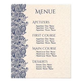Linho bege do menu do casamento & laço azul escuro