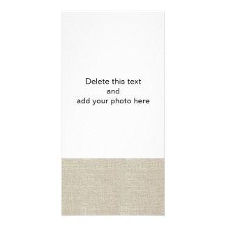 Linho bege rústico impresso cartões com foto personalizados