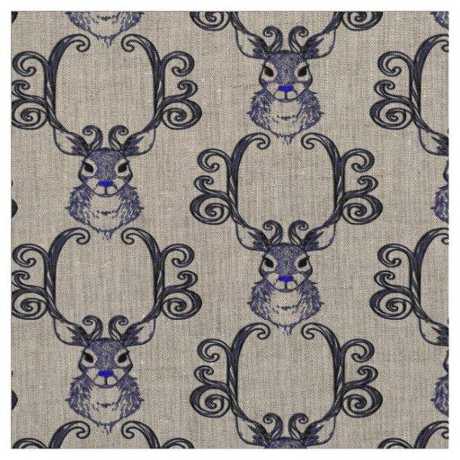 Linho bonito do tecido dos cervos da rena azul de