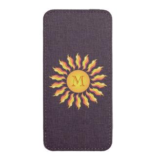 Linho feminino bonito do monograma de Sun Bolsinha De Celular