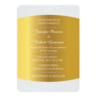 Linho real Wedding do branco do minimalismo do Convite 12.7 X 17.78cm
