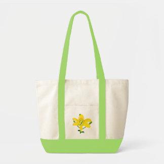 Lírio amarelo, sacolas do monograma da dama de hon bolsa para compras