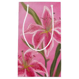 Lírio cor-de-rosa sacola para presentes pequena