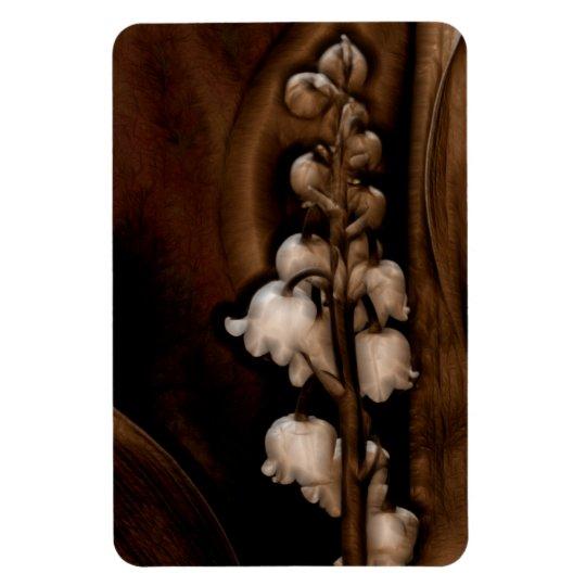 Lírio da flor do vale em Brown escuro Foto Com Ímã Retangular