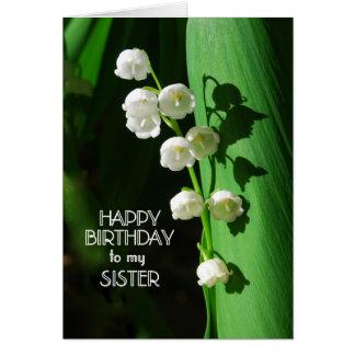Lírio da irmã do feliz aniversario do vale cartão comemorativo