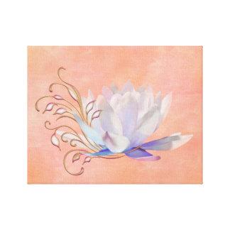 Lírio de água com redemoinhos decorativos impressão de canvas esticada