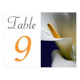 Lírio de Calla do cartão do número da mesa