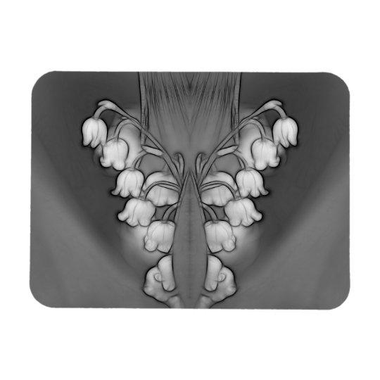 Lírio de preto e branco espelhado vale ímã