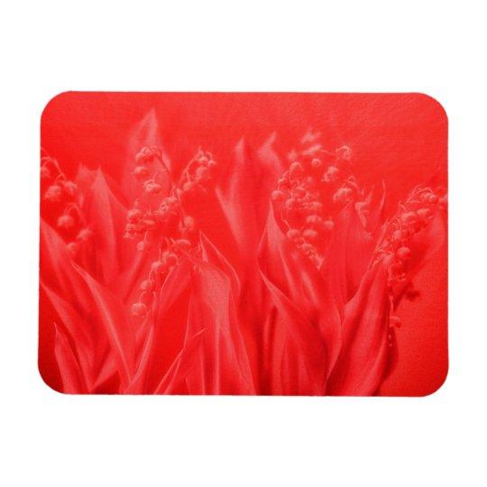Lírio do vale no vermelho foto com ímã retangular