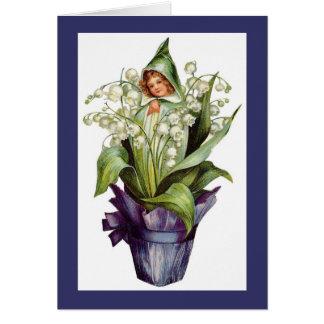 Lírio do vintage da fada da flor do vale cartão comemorativo