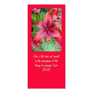 Lírio - vermelho iridescente (12:15 de Luke) 10.16 X 22.86cm Panfleto