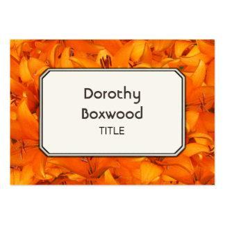 Lírios alaranjados botânicos personalizados do cartão de visita grande