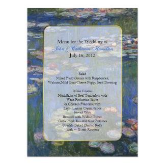 Lírios de água das belas artes que Wedding o menu Convite 16.51 X 22.22cm
