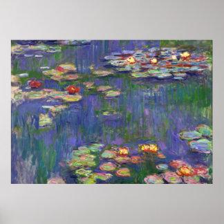 Lírios de água de Monet azuis Poster