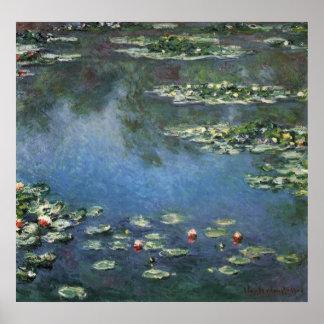 Lírios de água, Monet, flores do impressionismo do Posters