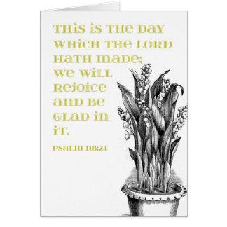 Lírios do verde do 118:24 do salmo do vale cartão comemorativo