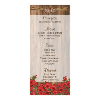 Lírios vermelhos bonitos na madeira - menu