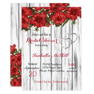 Lírios vermelhos na madeira branca - convite