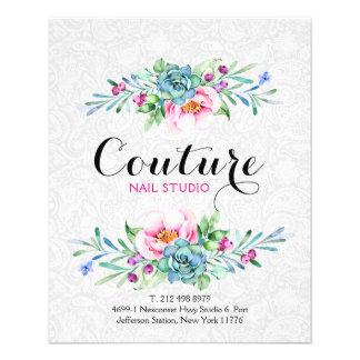 Lista colorida do menu do buquê floral